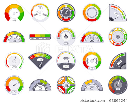 Speedometer score level. Good and low rating indication, goods grade speedometer level, satisfaction score tachometer indicators vector icons set 68863244