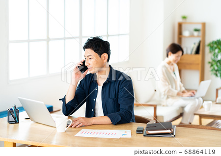 Telework Couple Couple Living Lifestyle Casual 68864119