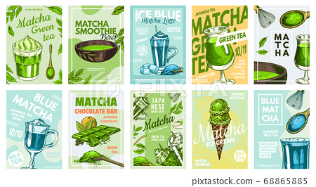 Matcha green tea poster. Healthy milk blue latte, Smoothie Bowl, Ice Cream and Chocolate bar 68865885