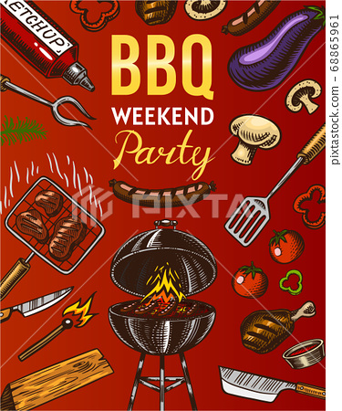 Barbecue grill elements set isolated on red background. BBQ party poster. Summer time. Charcoal 68865961