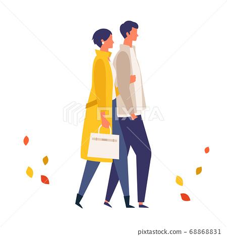 一對成人夫婦享受秋天約會的插圖 68868831