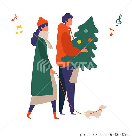 一對年輕夫婦享受聖誕節約會的插圖 68868850