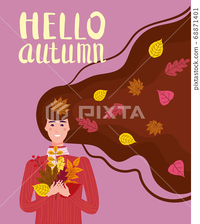 Girl cut and cheerful in a red sweater with autumn leaves. Lettering Hello Autumn, leaves yellow, orange. Vector illustration card banner template 68871401