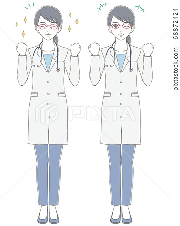 一名穿白大褂,戴著眼鏡的女醫生的醫學/醫生手繪風格全身插圖集 68872424