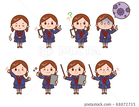 Schoolgirl and various poses 68872715