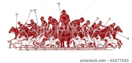 Polo Horses players sport cartoon graphic vector 68877880