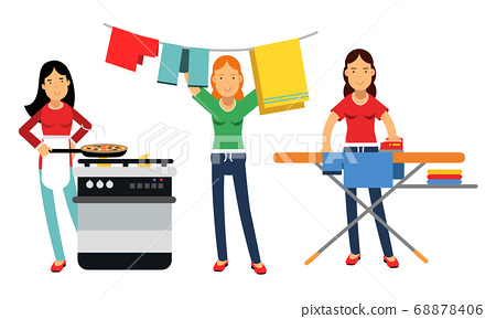 Energetic Housewife Cooking, Ironing and Hanging out the Laundry Vector Illustration Set 68878406