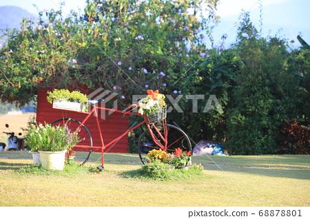 the garden view , bike full of flower 68878801