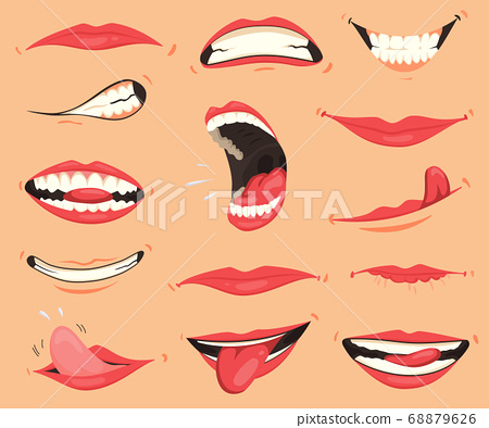 Mouth expressions. Lips with a variety of emotions, facial expressions. Female lips in cartoon style. Collection of gestures lips. Set of mouth cartoon funny and emotion. Red lipstick 68879626