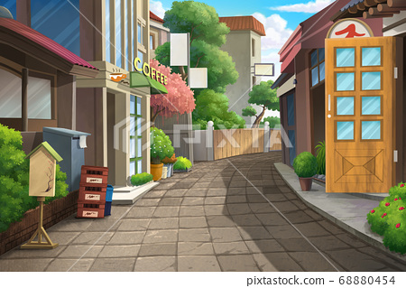 Streets and alleyways during the day. 68880454