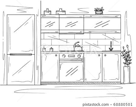Kitchen furniture. Vector illustration 68880501