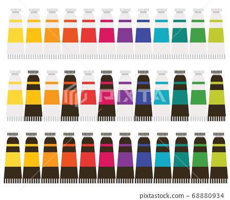 미술도구 수채화 유화 물감튜브 컬러 패턴 일러스트 68880934