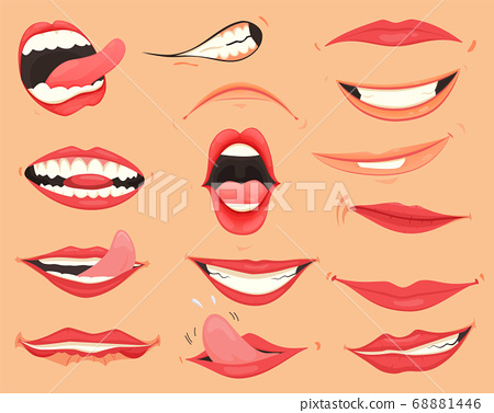 Mouth expressions. Lips with a variety of emotions, facial expressions. Female lips in cartoon style. Collection of gestures lips. Set of mouth cartoon funny and emotion. Red lipstick 68881446