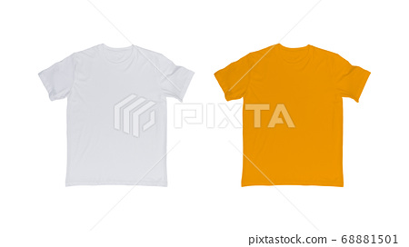 White and yellow t-shirt isolated on white. 68881501