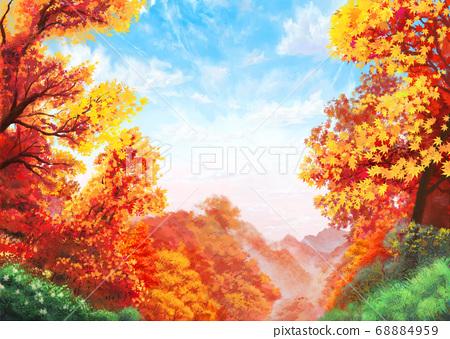 秋葉的背景具有一定的邊距,可以輕鬆放置標題[水彩風格],A4比率 68884959