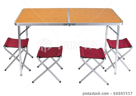 folding table for camping on a white background, stands in the unfolded state, next are folding chairs, four red chairs 68885557