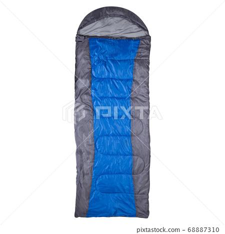 gray sleeping bag with blue stripe arranged on 68887310
