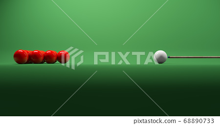 3D Rendering, Realistic mock up of snooker table with red and white balls, cue to aiming, side view shot, shadow darkness on foreground, blank empty space for copy, green color background. 68890733
