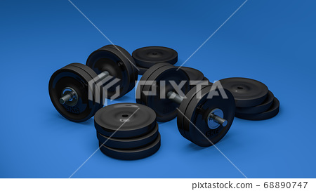 3D Rendering, Realistic group of dumbbells with equipment for fitness training, steel and chrome material, isolated on blue background. 68890747