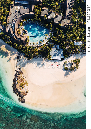 Aerial picture of the east coast of Mauritius 68893016