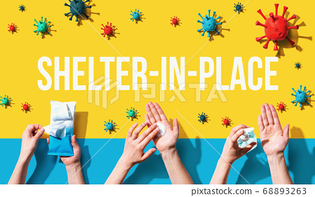 Shelter in place theme with person washing their hands 68893263