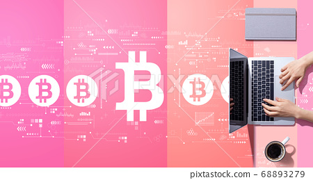 Bitcoin theme with person working with laptop 68893279