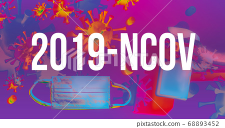 2019-NCOV theme with face mask and spray bottle 68893452