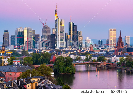 Frankfurt, Germany skyline over the Main River 68893459
