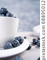 Ripe blueberries on plate and in bowl 68895012