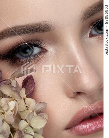 Closeup portrait of young beautiful woman 68896963