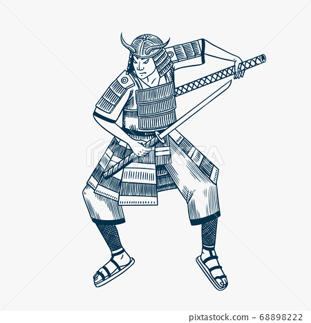 Japanese samurai warriors with weapons sketch. Men in a fight pose in armor. Hand drawn vintage 68898222