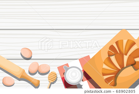 Bread Food Utensil on Cooking Wooden Table Kitchen 68902805