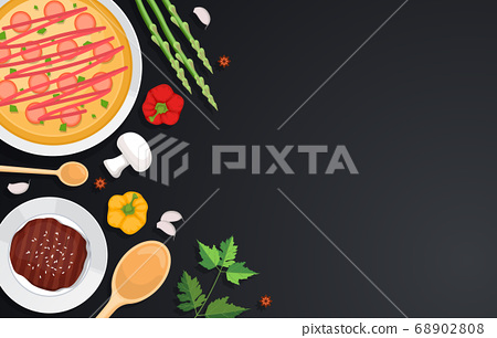 Pizza Vegetables on Cooking Black Table Kitchen 68902808