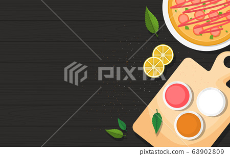Pizza on Cooking Black Wooden Table Kitchen 68902809