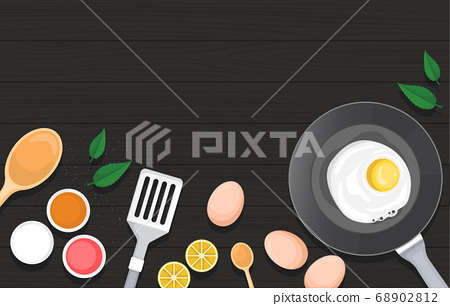 Eggs Vegetables on Cooking Black Wooden Table 68902812