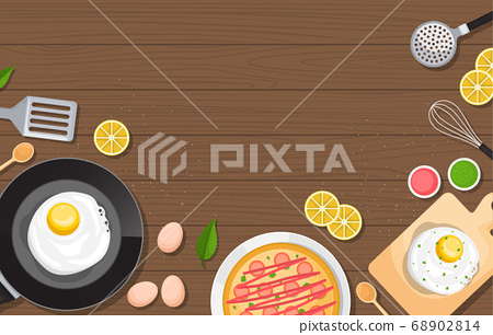 Eggs Pizza on Cooking Wooden Table Kitchen 68902814