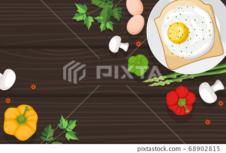 Eggs Bread Vegetables on Cooking Wooden Table 68902815