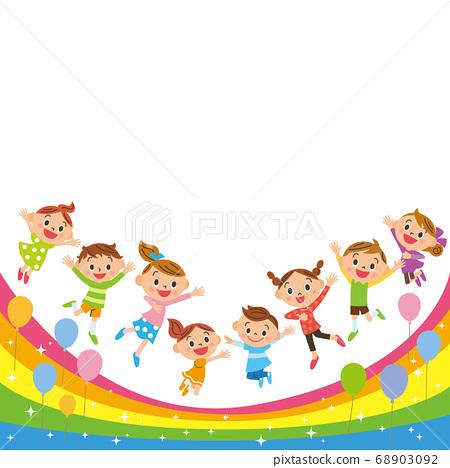 무지개 위를 점프하는 아이들 68903092