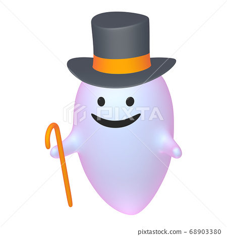 Halloween top hat ghost plastic color (1-3) 68903380