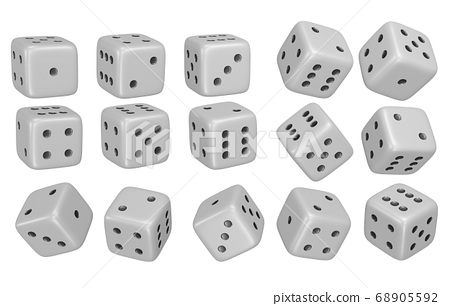 dice 3D illustrations isolated on white background.with Clipping Path ready to use for decoration. 68905592