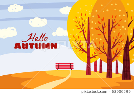 Hello Autumn landscape. Fall trees with yellow orange leaves, lonely bench for contemplation of autumn nature park. Vector isolated illustration 68906399