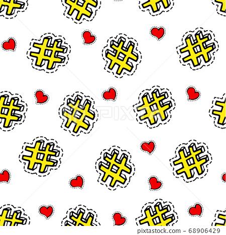 Hashtags and hearts seamless pattern, social media symbol 68906429