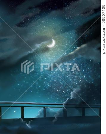 在繁星點點的天空中的月亮和橋樑剪影 68907409