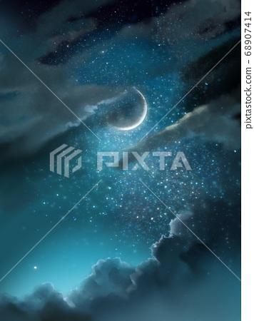 最後一個月亮,夜空和烏雲的夜景 68907414