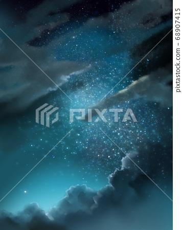 夜空和烏雲夜景和星空 68907415