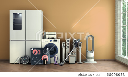 Modern home appliances in empty room commerce or 68908038
