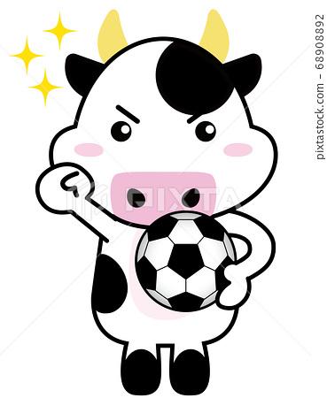 牛06_18(帶運動,閃光和足球的牛) 68908892