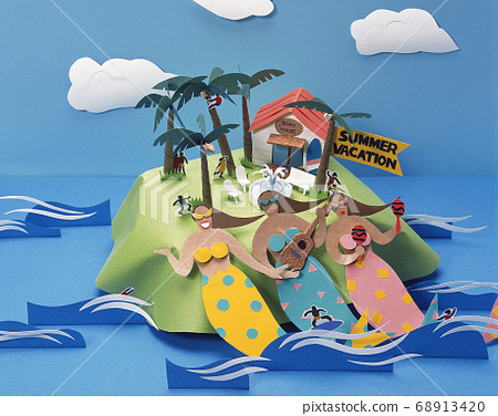 Paper Art Summer Mermaid 68913420