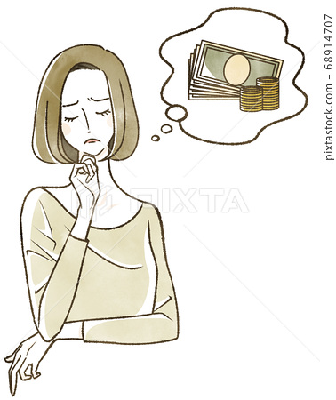 Woman thinking about money 68914707