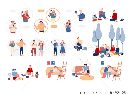 Set of Male and Female Characters Using Gadgets, Men and Women Students Reading Books Prepare for Examination, Relaxing 68920099